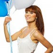 Woman holding ballons — Stock Photo