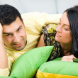 Young happy couple having a fun at home — Stock Photo #4172526