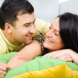 Young happy couple having a fun at home — Stock Photo #4172530