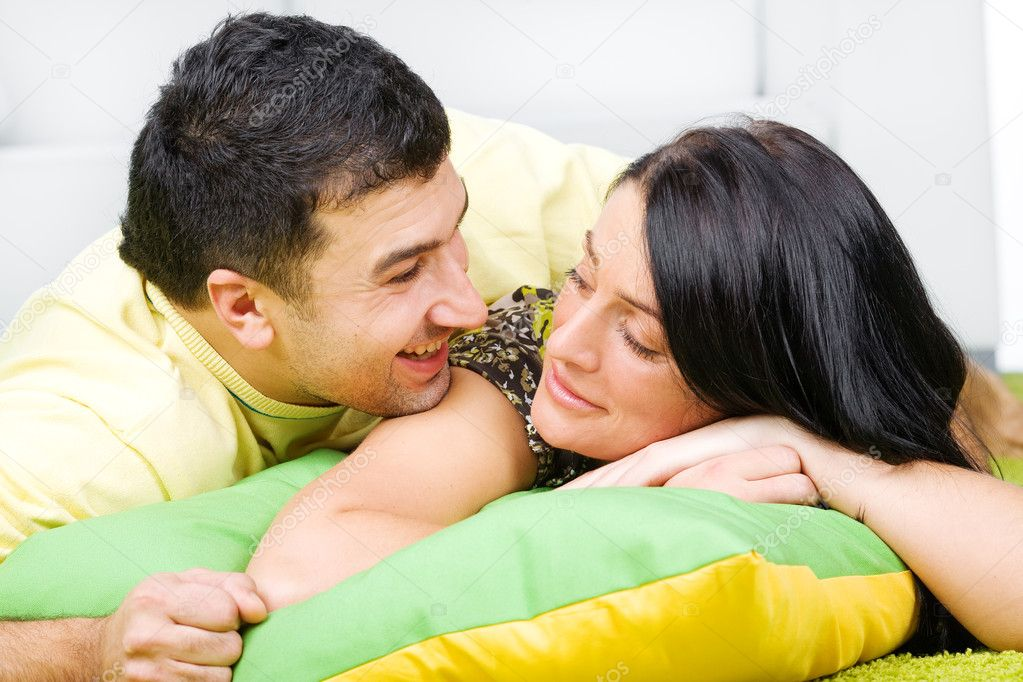 Young happy couple having a fun at home  Stock Photo #4172535