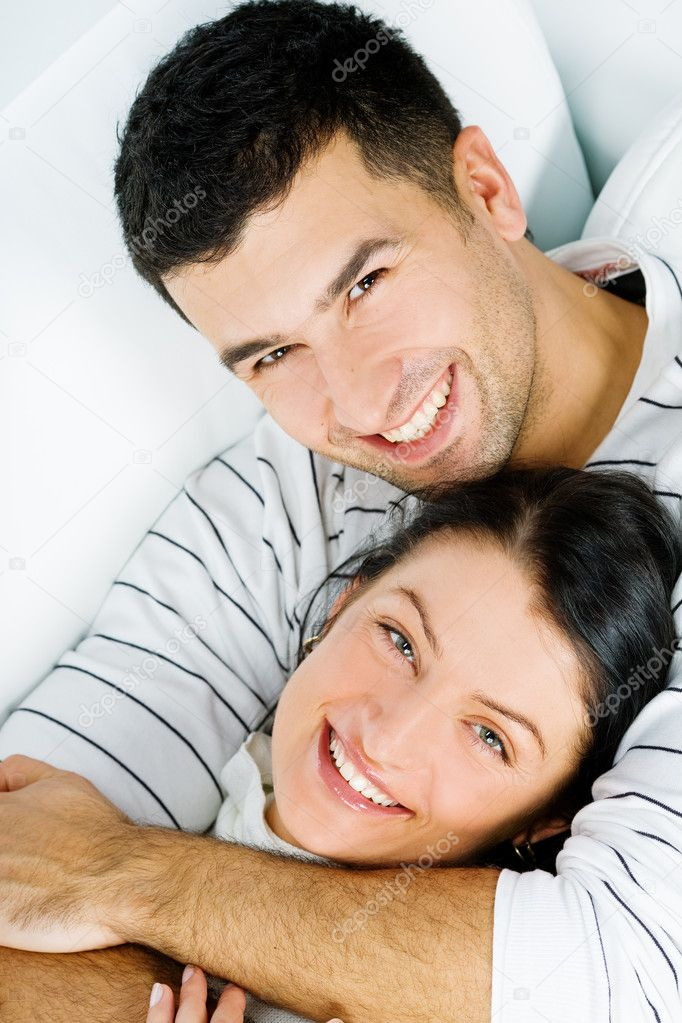 Cute lovers having fun together in the living-room at home — Stock Photo #4172569
