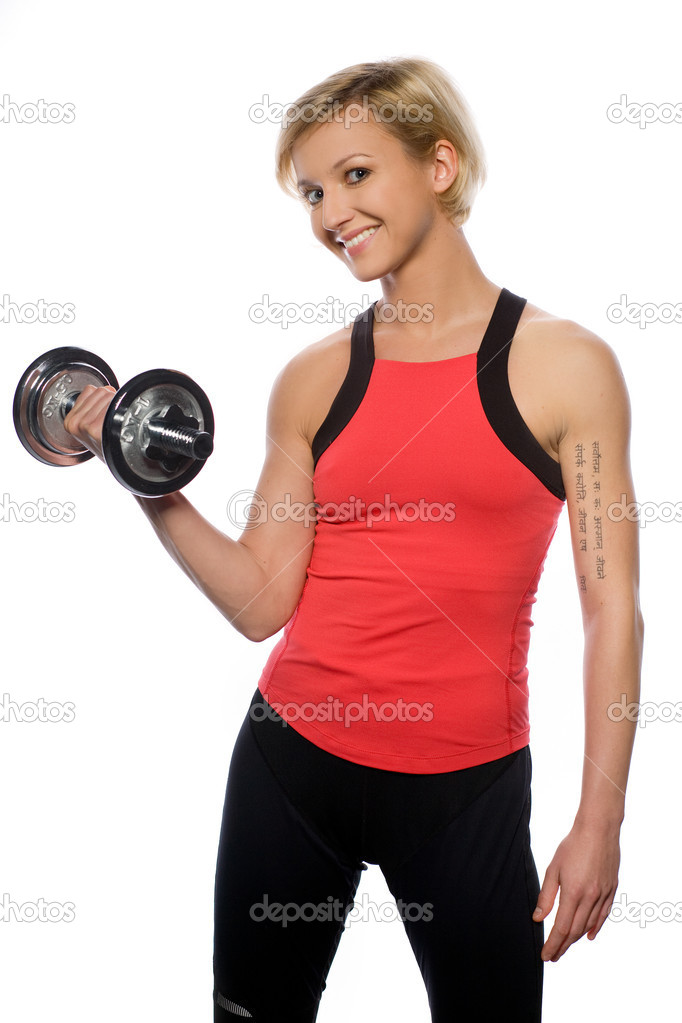 Woman doing fitness exercise — Stock Photo #4321245
