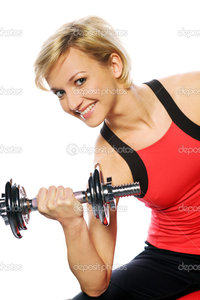 Woman doing fitness exercise — Stock Photo #4321267