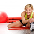 Woman doing fitness exercise — Stock Photo