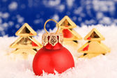 Christmas ornaments and trees — Stock Photo