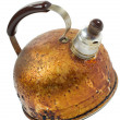 Old brown worned kettle - Stock Photo
