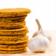 Wafer and garlic — Stock Photo