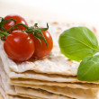 Matzo with tomato — Stock Photo