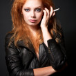 Portrait of beautiful young redhead woman — Stock Photo #4276144
