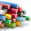 Stack of new color pencils - Stock Photo