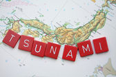 Tsunami on vintage map of Japan — Foto Stock