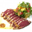 Tuna with sauteed vegetables - Stock Photo