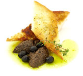 Pate of olives in a toast — Stock Photo