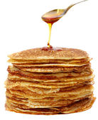 Honey and pancakes — Stock Photo