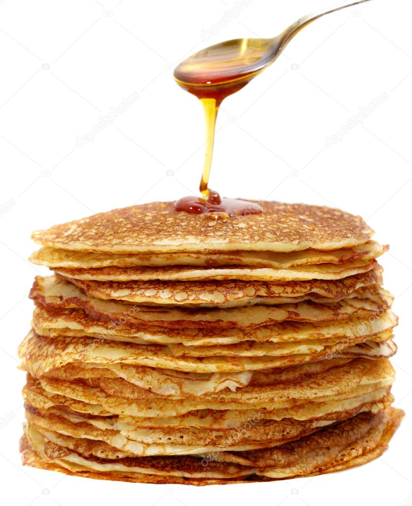 Studio photography tablespoons of honey and pancakes on the white background  — Stok fotoğraf #5160341