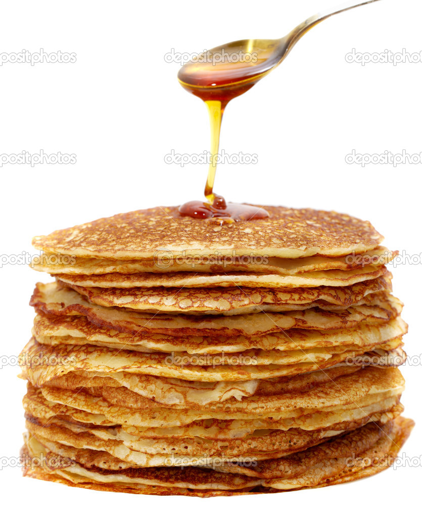 Studio photography tablespoons of honey and pancakes on the white background   Lizenzfreies Foto #5160341