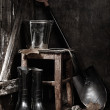 Garden tools in shed — Stock Photo