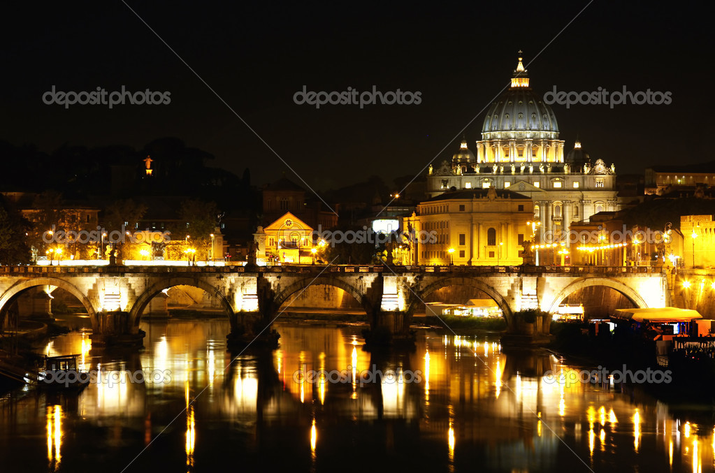 View of panorama night Vatican City in Rome, Italy  Photo #3928892