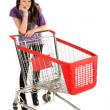 Unhappy girl with shopping cart — Stock Photo #3940672