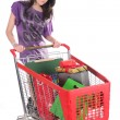 Girl with shopping cart — Stock Photo