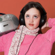 Pretty girl listening music — Stock Photo #3941204