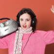 Pretty girl listening music — Stock Photo #3941224