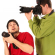 Professional photographers in action — Foto de Stock