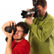 Stock Photo: Professional photographers in action