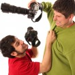Royalty-Free Stock Photo: Two Professional photographers fighting