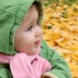 Baby at a park in Autumn — Stock Photo