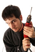 Craftsman with borer — Stock Photo