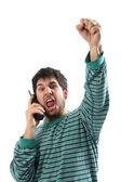 Człowiek z telefonem w piżamie, po newsy lotto lotto — Zdjęcie stockowe