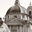 Piazza del Popolo in Rome Italy - Stock Photo