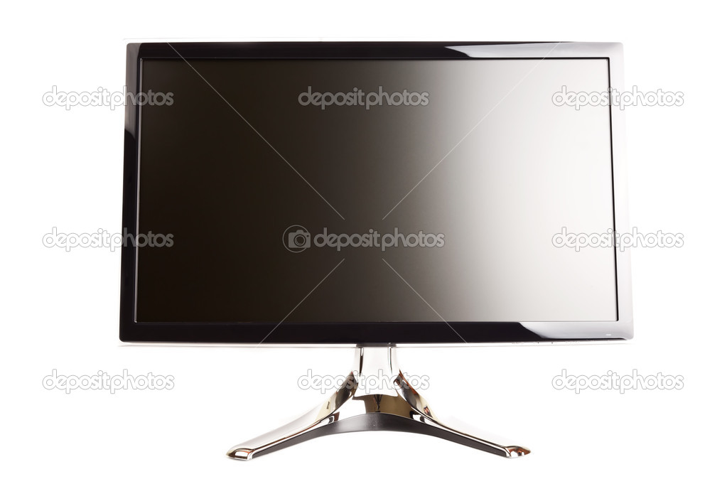 Isolated black flat LCD monitor on a white background  Stock Photo #4941076