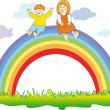 Happy children on the rainbow - Stock Vector