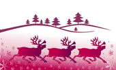 Fondo de navidad con venados — Vector de stock