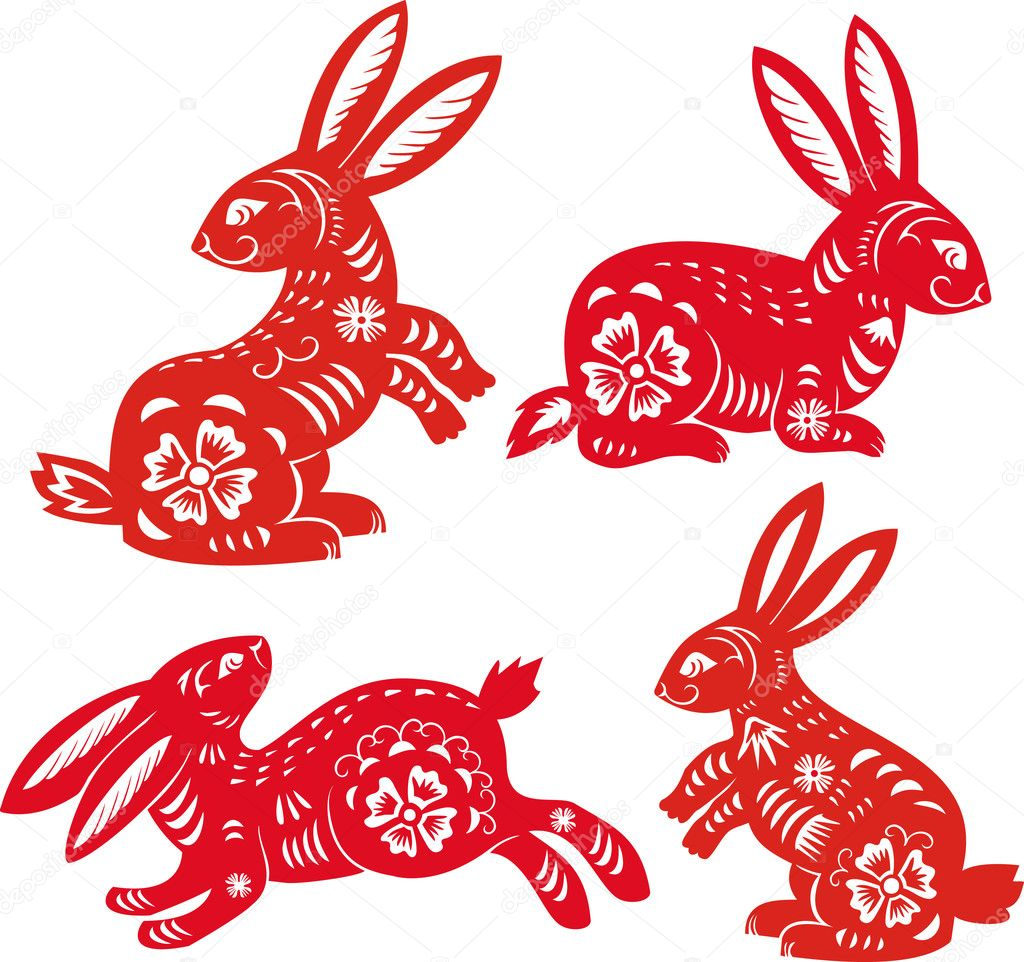 chinese zodiac of rabbit year stock vector sushkonastya 4616164. Black Bedroom Furniture Sets. Home Design Ideas