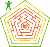 Labyrinth with man and heart. — Stock Vector