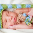 Adorable newborn baby with teddy — Stok fotoğraf