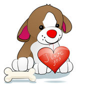Dog with heart — Stock Vector