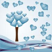 árbol del corazón - azul — Vector de stock