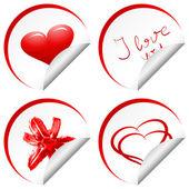 τέσσερις αγάπη αυτοκόλλητο — 图库矢量图片