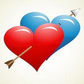 Pil genom hjärtan — Stockvektor
