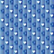 Stock Vector: Repeated blue hearts