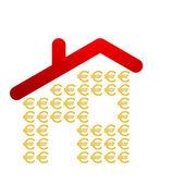 屋檐下的欧元符号 — 图库矢量图片