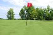 Golf red flag — Stockfoto