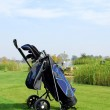 Golf scene with bag and golf club — Stock Photo