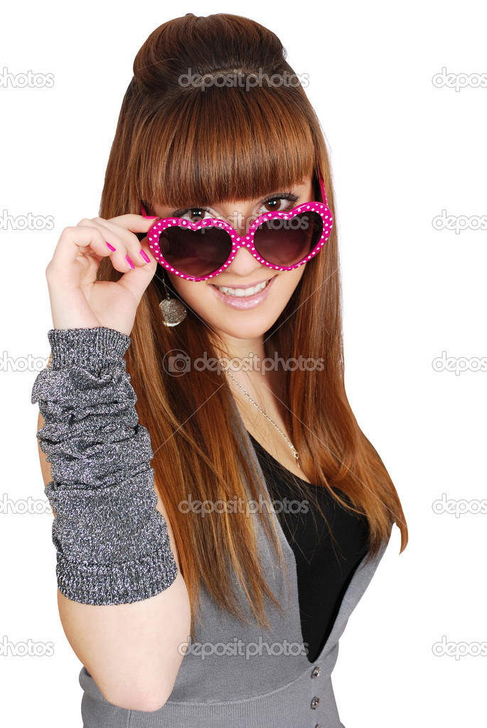 Girl with heart sunglasses  Stock Photo #4167357