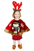Beautiful little girl with deer Rudolf horn on head ready for Christmas — Stock Photo