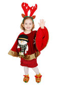 Christmas little girl with horn on head and snowman on dress greeting — Stock Photo